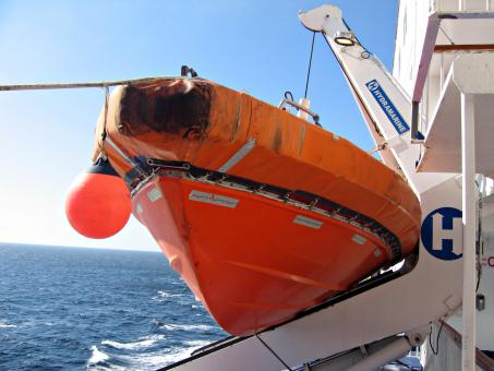 Free Stock Photo of Orange lifeboat