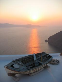 Free Stock Photo of Sunset Santorini Greece