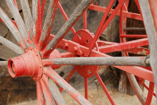 Free Stock Photo of Painted Red Wagon Wheel