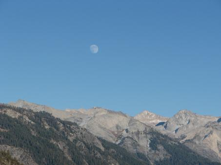 Free Stock Photo of Moon Over the Mountains