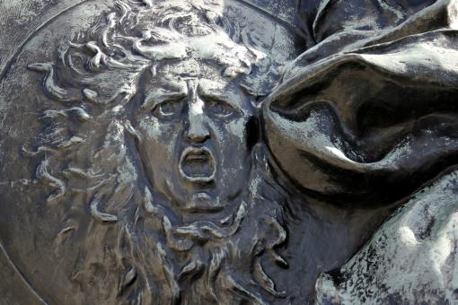 Free Stock Photo of Sungod in stone