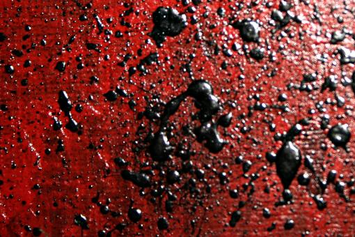Free Stock Photo of Black paint on red canvas