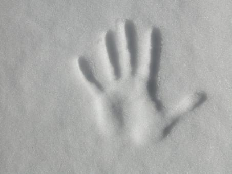Free Stock Photo of Hand print in the snow