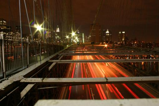 Free Stock Photo of New York City traffic by night