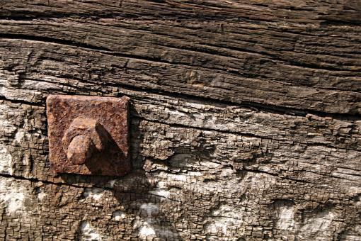 Free Stock Photo of Rusted metal bolt in wood