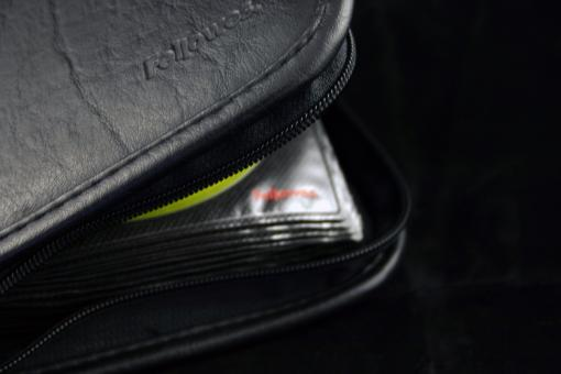 Free Stock Photo of Black CD bag closeup