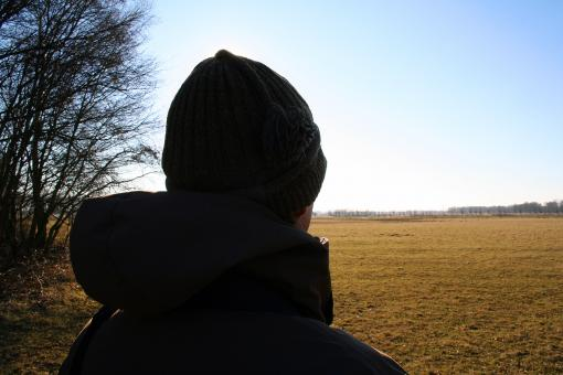 Free Stock Photo of Man looking out over landscape