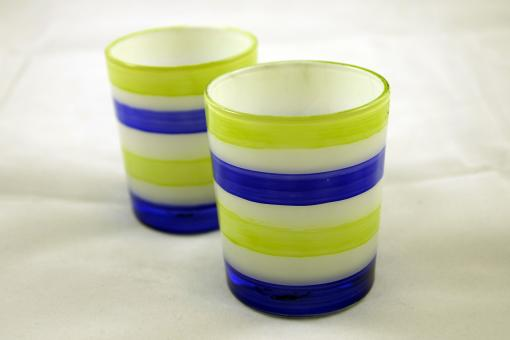 Free Stock Photo of Lime and blue colored glasses