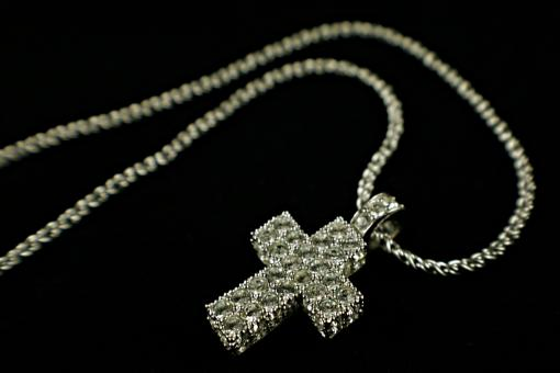 Free Stock Photo of Diamond cross neclace