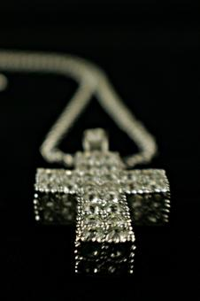 Free Stock Photo of Diamond cross necklace