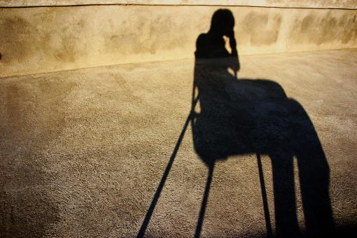 Free Stock Photo of Shadow of a sitting person