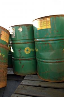 Free Stock Photo of Green oil barrels