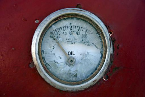 Free Stock Photo of Shattered oil meter