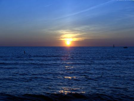Free Stock Photo of sunsets on lake michigan