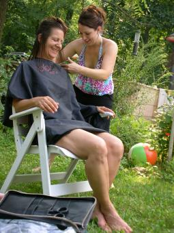 Free Stock Photo of Outdoor Haircut