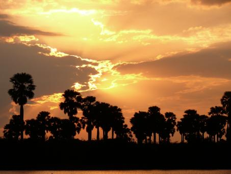 Free Stock Photo of African sunset on river