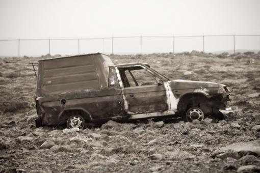 Free Stock Photo of Burned mini van