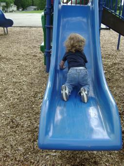 Free Stock Photo of Learning to slide by our self