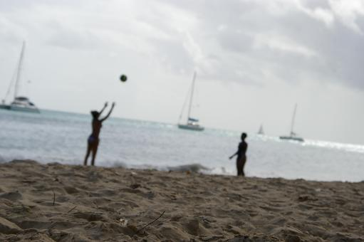 Free Stock Photo of Volleyball at the beach - Darker