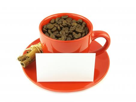 Free Stock Photo of Coffee beans and paper in red cup