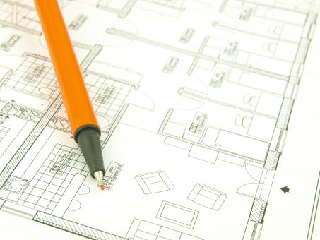 Free Stock Photo of Orange Pen and Architect Drawings