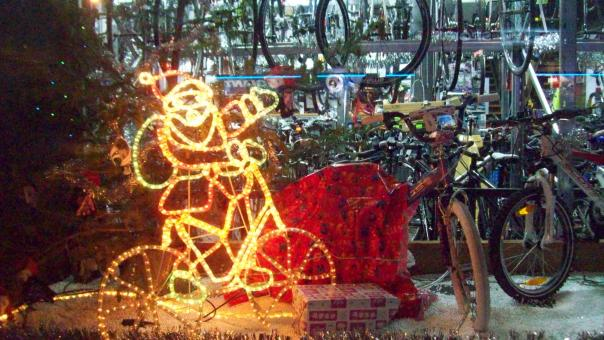 Free Stock Photo of Neon Sporty Santa and bikes