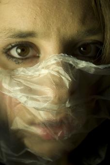 Free Stock Photo of Fear - Plastic over Face