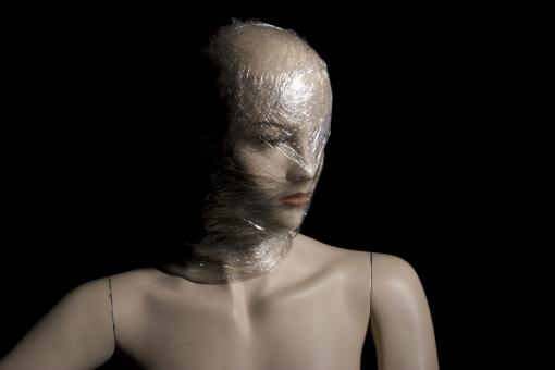 Free Stock Photo of Mannequin with Plastic Over Head