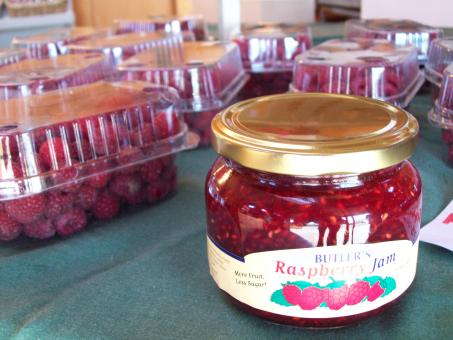 Free Stock Photo of Jar of Raspberry Jam at Butlers Fruit sh