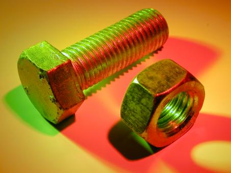 Free Stock Photo of Nut and Bolt