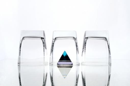 Free Stock Photo of Three glasses and a pyramid