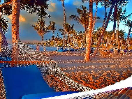 Free Stock Photo of Beach Hammocks