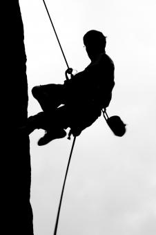 Free Stock Photo of Climber on Rapel