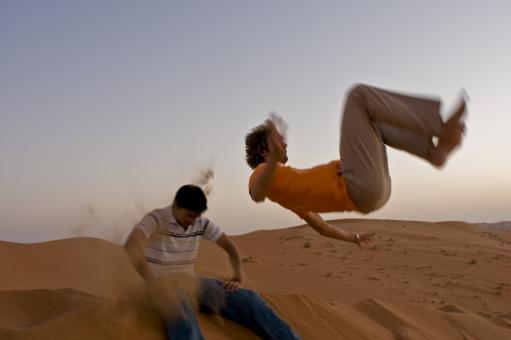Free Stock Photo of Dune jumping