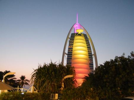 Free Stock Photo of Burj Al Arab at Sunset-Dubai