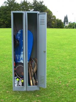 Free Stock Photo of Locker and sports equipment