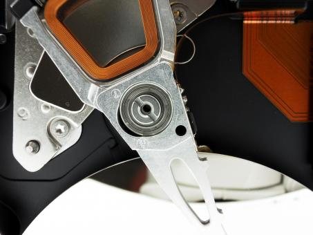 Free Stock Photo of Inside hard disk drive