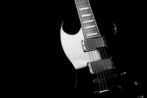 Free Stock Photo of Black Electric Guitar