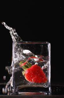 Free Stock Photo of Splashing strawberry