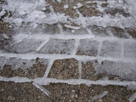 Free Stock Photo of Frozen tire track
