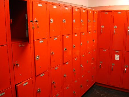 Free Stock Photo of Red Lockers