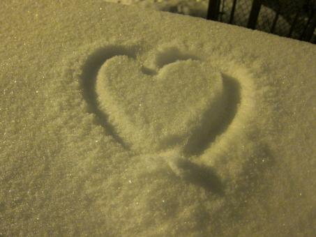 Free Stock Photo of Snowy Heart