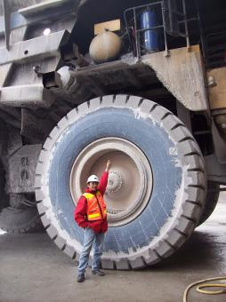 Free Stock Photo of Me on the tire haul truck