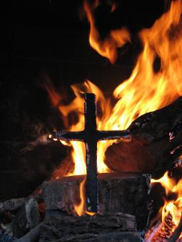 Free Stock Photo of Burning Cross