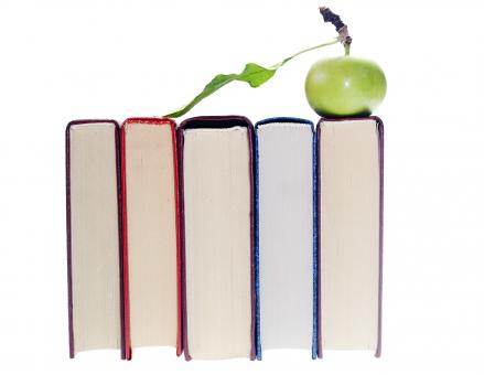 Free Stock Photo of Books and apple