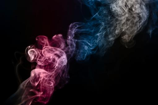 Free Stock Photo of Pink and Blue Smoke on Black