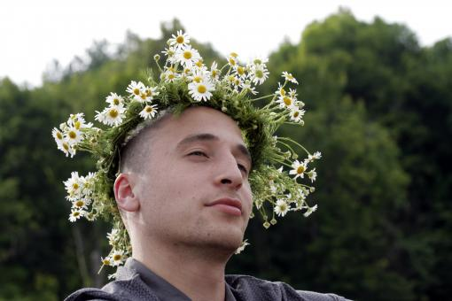 Free Stock Photo of Man with flower crown