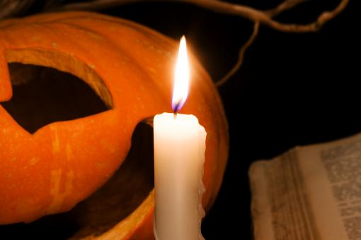 Free Stock Photo of Pumpkin and candle