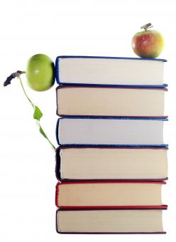 Free Stock Photo of apples on stack of books