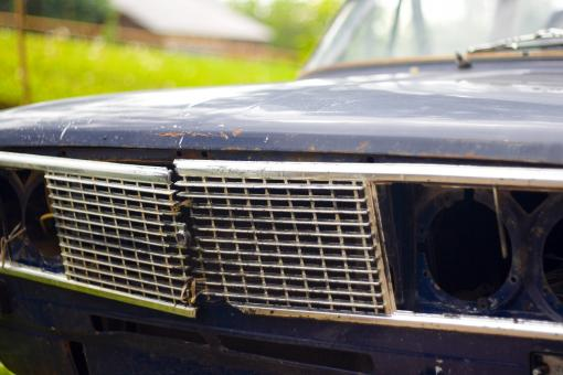 Free Stock Photo of old broken car headlight